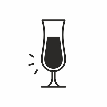 ice: Black silhouette illustration of alcohol in a Cocktail glass icon, isolated on white