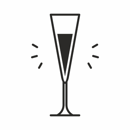 Black silhouette illustration of alcohol in a flute wine glass type Cocktail glass icon, isolated on white