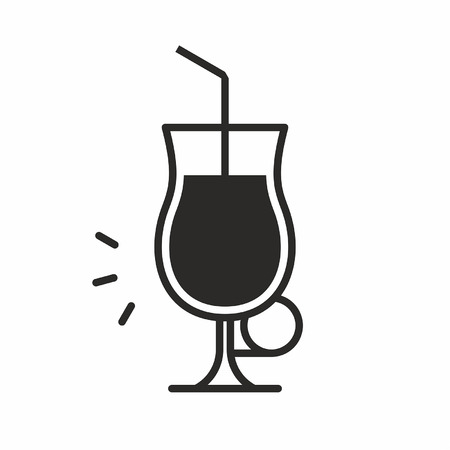Black silhouette illustration of alcohol in a uniglass type with straw, Cocktail glass icon isolated on white