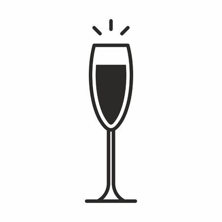 와인 유리의 검은 실루엣 그림 화이트 절연 칵테일 아이콘 일러스트