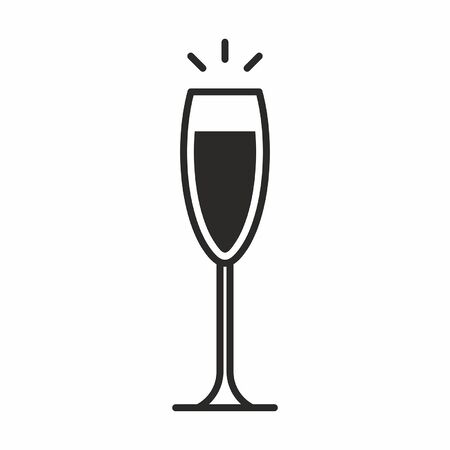 A black silhouette illustration of wine glass Cocktail icon isolated on white Illustration