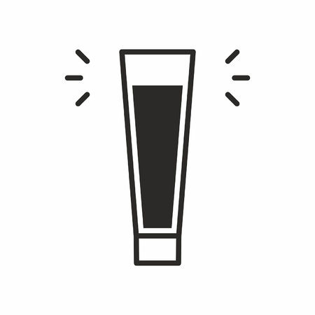 Black silhouette illustration of beer glass, a cocktail icon isolated on white Illustration