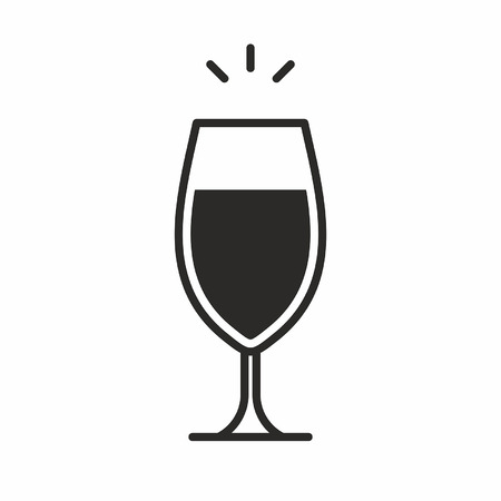 Black silhouette illustration of wine glass, a cocktail icon isolated on white Illustration