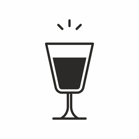 Black silhouette illustration of a footed pilsner glass, a cocktail icon isolated on white Stock Vector - 84058601