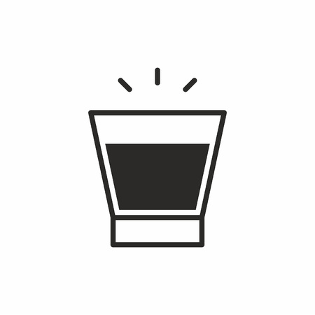 Black silhouette illustration of a old fashioned wine glass, a cocktail icon isolated on white