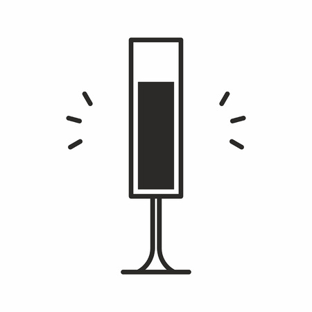 Black silhouette illustration of a champagne flute glass, a cocktail icon isolated on white Illustration