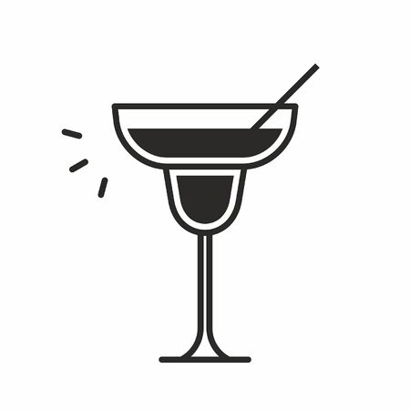 Black silhouette illustration of a champagne saucer glass with a straw, a cocktail icon isolated on white