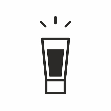 Black silhouette illustration of an alcohol on a hot shot cordial glass, isolated on white, Cocktail icon
