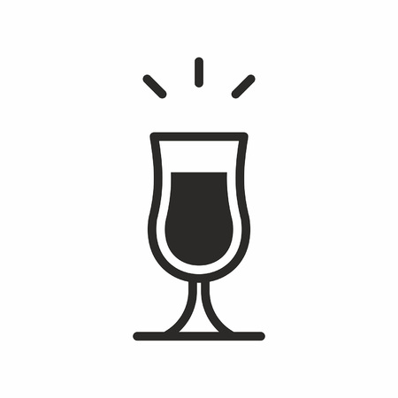 Black silhouette illustration of an alcohol on a poco grande glass, isolated on white, Cocktail icon Stock Vector - 84110195