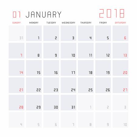 Planning calendar January 2018 icon. Illustration
