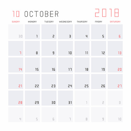 Planning Calendar October 2018 Royalty Free Cliparts Vectors And