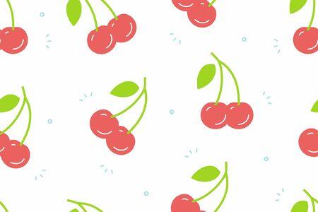 Cherry seamless pattern. Vector illustration Illustration