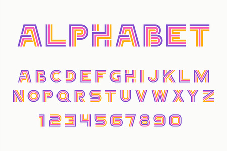Illustration of linear font of  alphabet and numbers in purple and yellow color. Stok Fotoğraf - 90913310