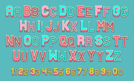 Illustration of posters style font of  alphabet and numbers on teal background.