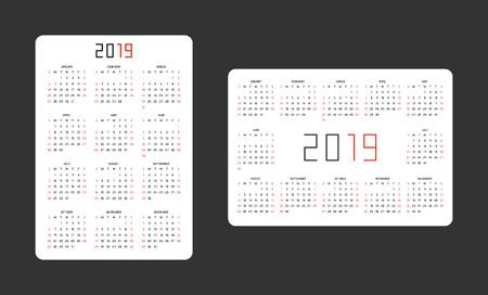 Pocket calendar 2019. vertical and horizontal template Vettoriali