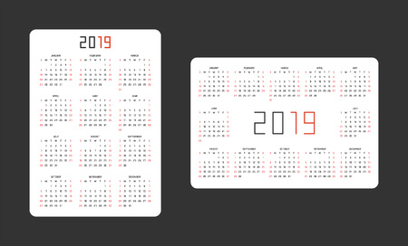 Pocket calendar 2019. vertical and horizontal template 向量圖像