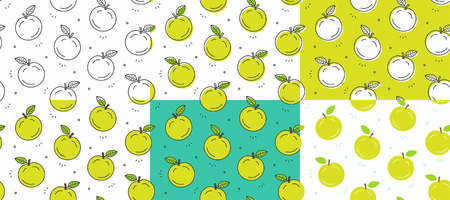 Set of green Apple seamless pattern. Vector illustration  イラスト・ベクター素材