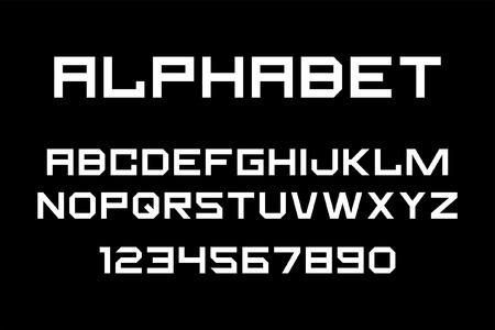 White of font and alphabet. Isolated on Black background