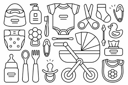 Conjunto de cosas para bebés. aislado sobre fondo blanco