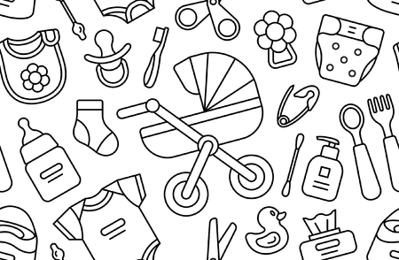 Seamless pattern with Baby things. isolated on white background