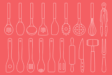 Set of Kitchen Utensils. isolated on red background