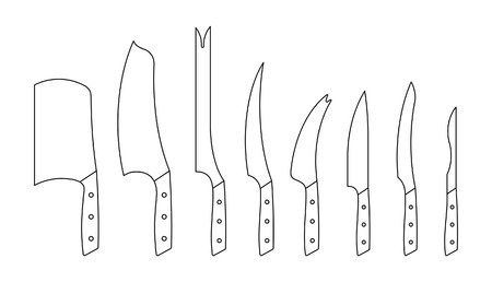 Set of kitchen knives. isolated on white background Illustration