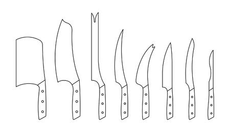 Set of kitchen knives. isolated on white background Ilustrace