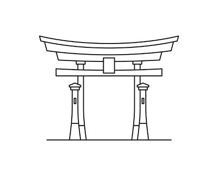 Japanese torii gate icon. isolated on white background