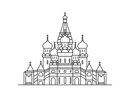 Saint Basils Cathedral icon, Moscow Russia. isolated on white background