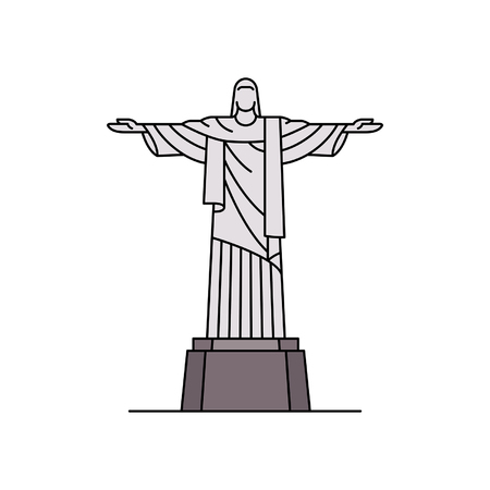 Christ the redeemer icon. isolated on white background Illustration