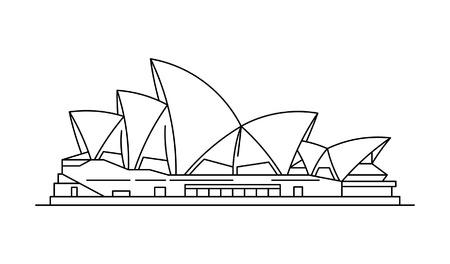 Symbol für das Opernhaus von Sydney. isoliert auf weißem Hintergrund