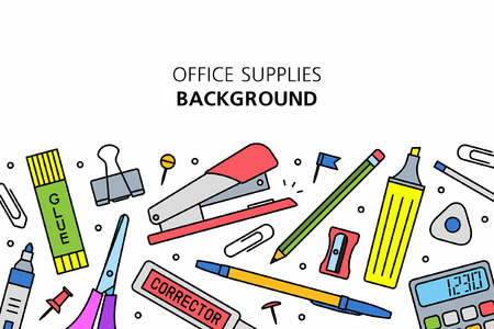 Office Supplies background. isolated on white background Ilustracja