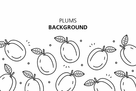 Plums background. isolated on white background Çizim