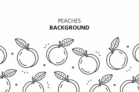 Peaches background. isolated on white background Иллюстрация