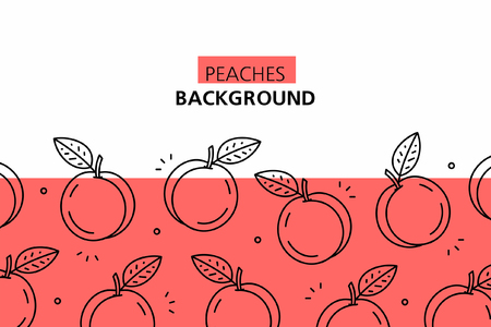Peaches background. isolated on white background Ilustração