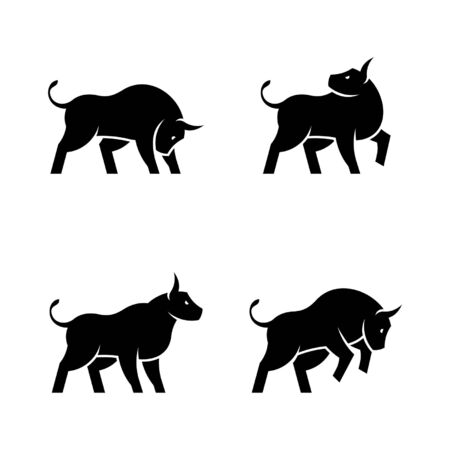 Set of Bull Icon design. Template elements