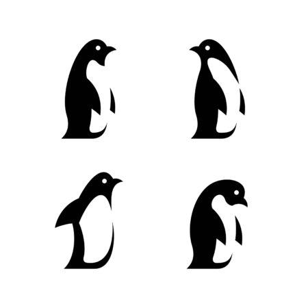 Conjunto de diseño de icono de pingüino. Elementos de plantilla