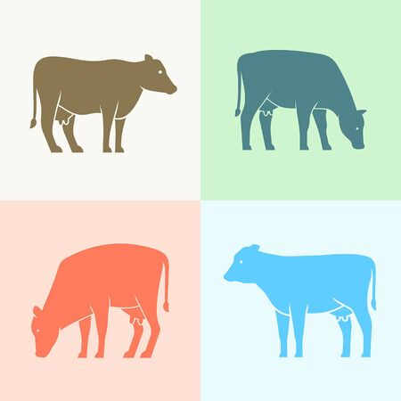 Set of Cow  Icon design. Template elements