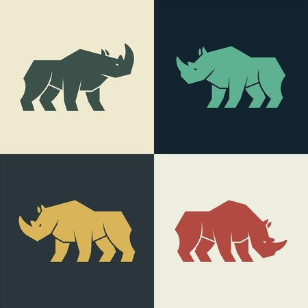 Set of Rhinoceros Icon design. Template elements