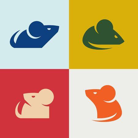 Ensemble de conception d'icône de souris. Éléments du modèle