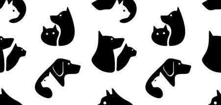 Seamless pattern with Dog and cat logo. isolated on white background Standard-Bild - 133371806