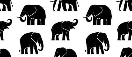 Seamless pattern with Elephant logo. isolated on white background Stock Illustratie