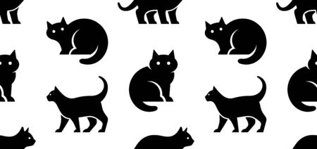 Seamless pattern with Cat logo. isolated on white background Standard-Bild - 133371808