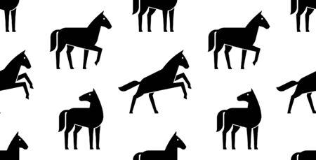 Seamless pattern with Horse logo. isolated on white background Çizim