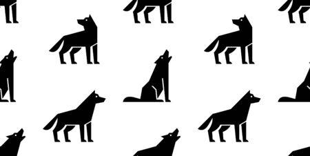 Seamless pattern with Wolf logo. isolated on white background
