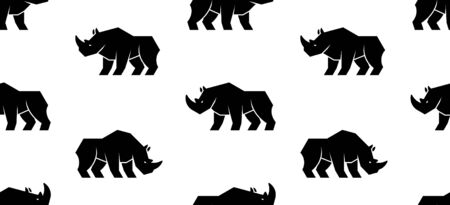 Seamless pattern with Rhinoceros Logo. isolated on white background