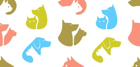 Seamless pattern with Dog and cat logo. isolated on white background