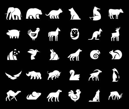 Animals logos collection. Animal logo set. Isolated on Black background Çizim