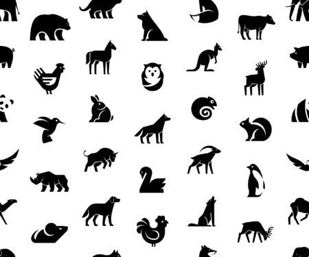 Seamless pattern with Animals logos. Isolated on White background Çizim