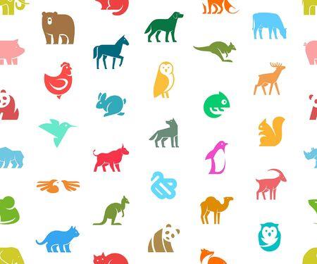 Seamless pattern with Animals logos. Animal logo set